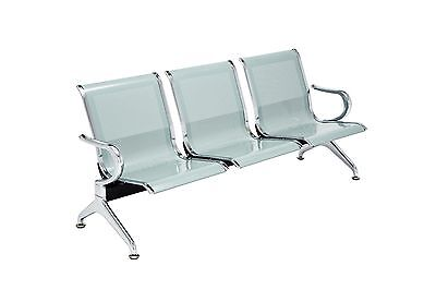 3-seat Waiting Chair Salon Office Bank Airport Reception Room Clinic Steel Bench