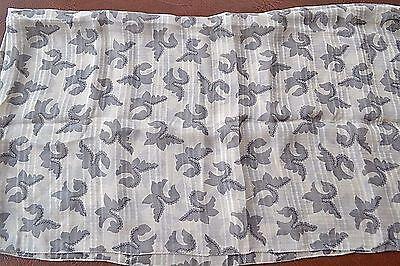 New Huge silk scarf foulard with floral design cream  & grey tone