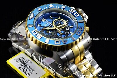 Invicta Mens 70mm Full Sea Hunter III Blue Swiss Movement Two Tone Plated Watch