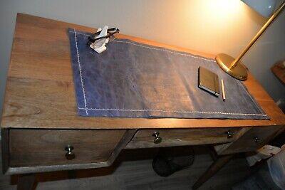 Leather Desk Pad - Unique Blue Large Deskpad - Mouse Pad