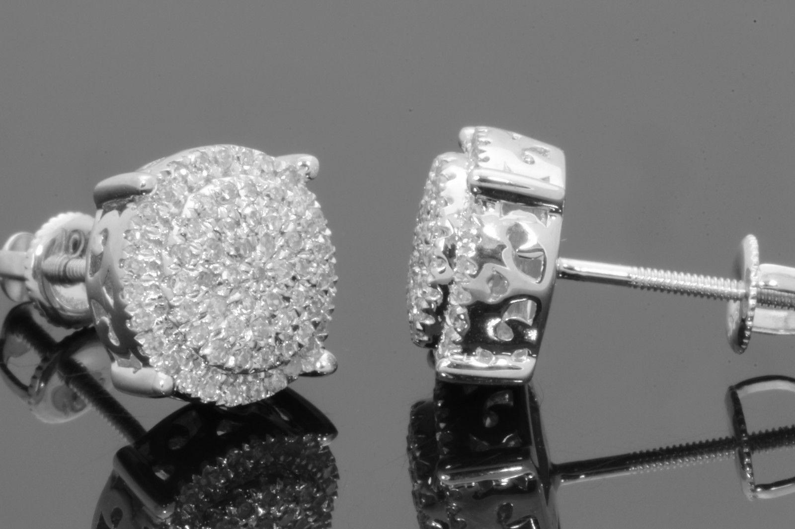 Details about 10K WHITE GOLD .50 CARAT MENS WOMENS 10 mm 100% GENUINE  DIAMONDS EARRING STUDS 825efdcbde