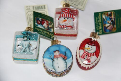 *Set of 4 Inside Art - Snowman #1* Old World Christmas Glass Ornament - NEW