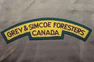 Original WW2 Royal Canadian Grey & Simcoe Foresters Cloth Uniform Flash (Patch)