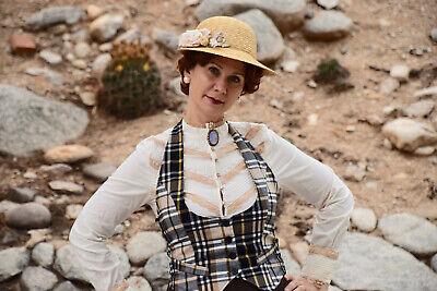 Women Victorian Vintage Look Blouse Shirt Steampunk Halloween Costume Vest Sz M
