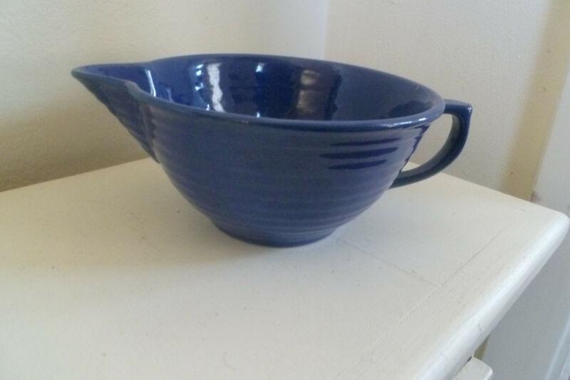 Vintage Bauer Pottery Ring Ware 1 qt Batter Bowl-cobalt blue-VERY HARD TO FIND