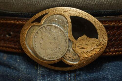 Western Flair Belt Buckle Brass-Onyx-With 1889 Morgan Silver Dollar Looks unused
