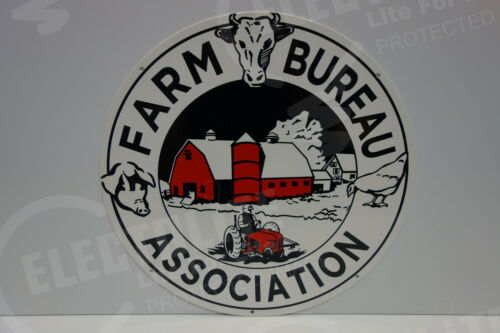 Farm Bureau Association ROUND DIE CUT AWESOME HEAVY & THICK SIGN GREAT COLORS