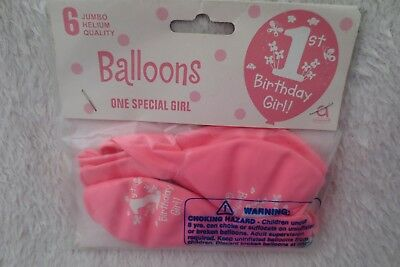 Baby Girl 1st Birthday Party Balloons Pink 6 Jumbo New