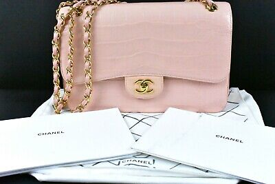 7d2ae4a265f CHANEL Pale Pink Alligator Classic Double Flap Jumbo Bag w/ Duster/Paperwork