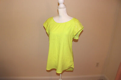 Yellow Sequin Top (EXPRESS Neon Yellow Sequin Shoulder Short Sleeve Top Blouse, Size)