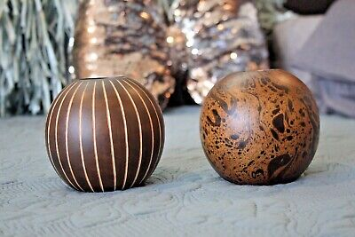 Lot of 2 Wood Round Tealight Candle Holders! Beautiful! Thailand -