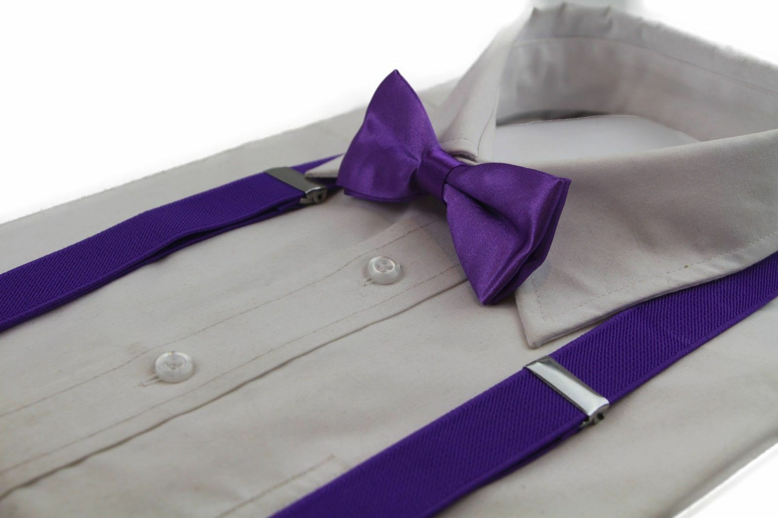 fafb1788424 Details about BOYS PURPLE MATCHING BOW TIE + SUSPENDER SET KIDS UNISEX  DRESS UP WEDDING PAGE