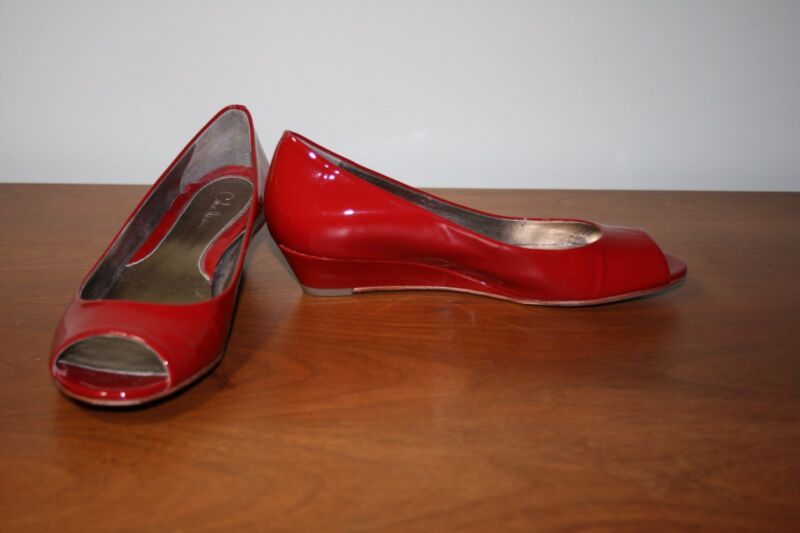 COLE HAAN NIKE AIR 6 M RED PATENT LEATHER OPEN TOE LOW WEDGE HEELS DRESS SHOES