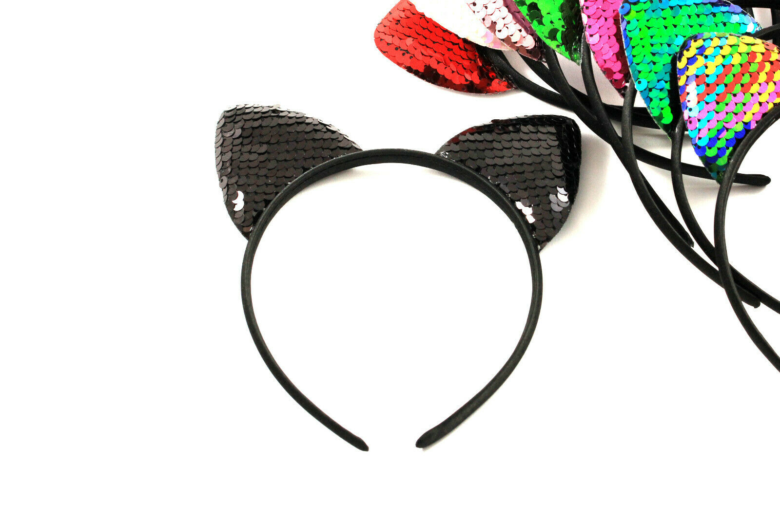 Haarreif Haarreifen Tiara Diadem Katzenohren Pailletten Haarschmuck K218a