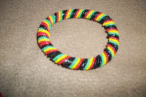 """COLORFUL Hand CRAFTD twist bead wrap wrist BAND from Kenya snap 7"""" 3 1/2 round"""