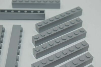 10 NEW LEGO 1x8 MEDIUM STONE GREY BRICKS bulk lot blocks light bluish gray 3008