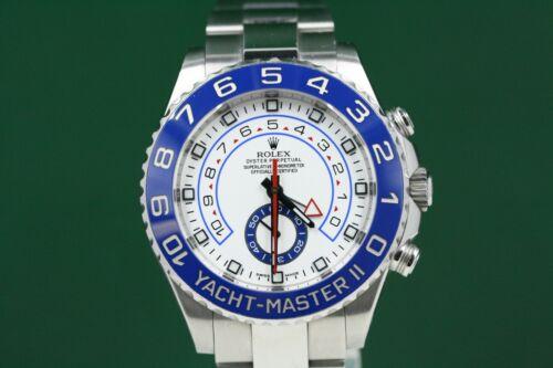 Rolex Yacht-master Ii Model 116680 Stainless Steel Watch White Dial Blue Bezel