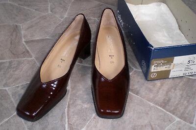 NEU! *GABOR* Damen Pumps Schuhe Slipper Gr. 5 1/2 38-39 Leder Kastanie Braun -G-