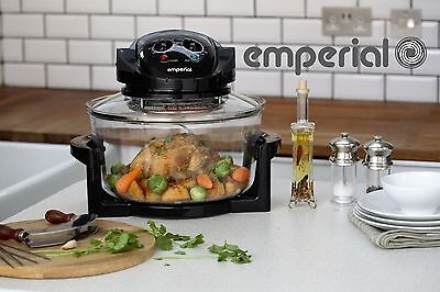 Emperial 17L Halogen Convection Oven Cooker Black & Extender Ring & Accessories