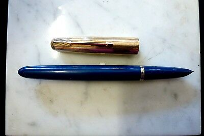 Parker 51 Aerometric - 18K 1/10 Gold Filled - Rare Teal 14K nib - USA Vintage