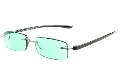 Lesebrillen Damen Herren grasgrüne getönte Gläser, rahmenlos leicht, modern ecki