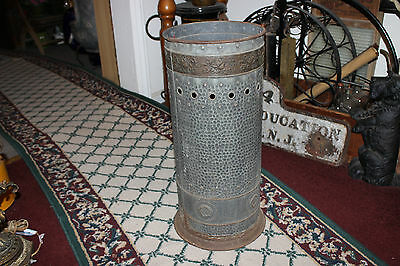 Antique Victorian German Tin Metal Umbrella Stand Cane Holder-Hammered Flowers