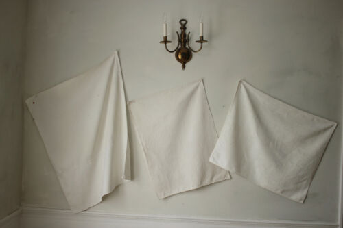 Set of 3 Antique European Softly Worn Linen Towels Mismatched