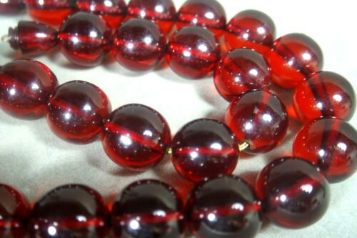 Vintage CHERRY RED AMBER BAKELITE Round Bead Strand Necklace