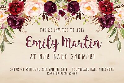 10 Personalised Baby Shower Invitations - Rustic Vintage Marsala Floral - Rustic Baby Shower Invitations