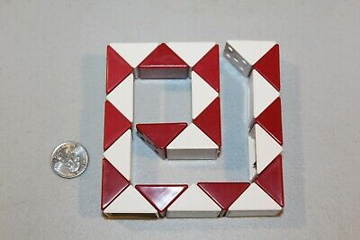 vtg 1980s Magic Snake Puzzle Cube Red & White Plastic Twist Toy Rubik style game for sale  Shipping to Nigeria