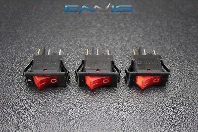 3 Pcs Rocker Switch On Off Mini Toggle Red Led 12v 16 Amp Ec-1220rd