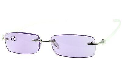 Lesebrillen Damen Herren lila violett, rahmenlos, getönte Gläser leicht, modern