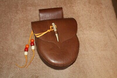 LEATHER BELT POUCH BAG  RENDEZVOUS FUR TRADE MOUNTAIN MAN  DARK BROWN