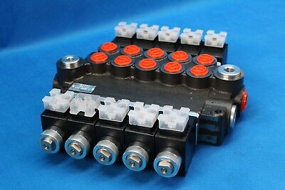 HYDRAULIC BANK MOTOR 5 SPOOL VALVES 80 L/MIN ELECTRIC 24V + INSTRUCTION