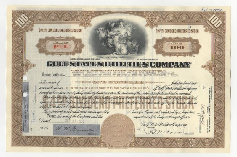 Gulf States Utilities Company Stock Certificate - Issued to Hershey Trust Co.