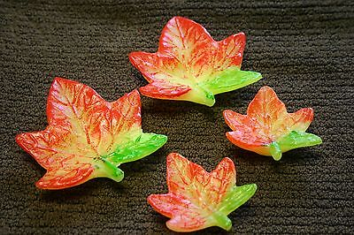 Fall Leaf Candles - SET OF 4 AUTUMN FALL LEAF FLOATING  CANDLES Wedding Home Birthday Centerpiece