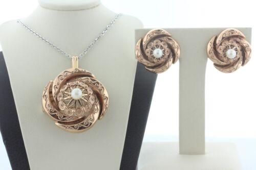 Estate 14K Rose Gold Filigree Medallion Pearl Layered Pendant/Pin & Earring Set