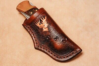 Custom Leather Sheath w/deer for Buck 110 Knife