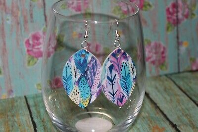 - Blue Purple Feather Print. Lightweight Boho Double Point Leaf  Earrings
