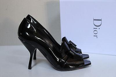 New sz 11.5 / 41.5 Christian Dior Black Patent Leather Bow Peep Toe Pump Shoes