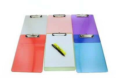 6pk Transparent Colorful Office Writing Board Plastic Clipboard Paper Holder Lot