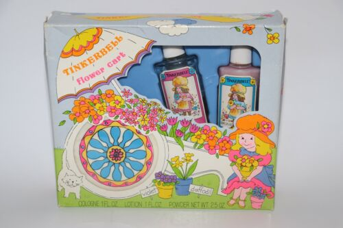 Vintage Tinkerbell Flower Cart Cologne, Powder, and Lotion Set circa 1970s