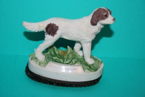 Brittany Spaniel Dog Lint Brush Hand Paint Bisque Porcelain Art Pottery Vintage