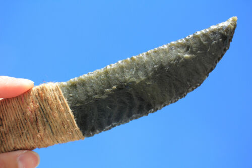 Twine Wrapped Handle-Paleo/Primitive Flint Knapped Goldsheen Obsidian Dagger