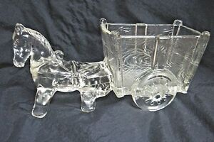 Vintage-Clear-Pressed-Glass-Donkey-amp-Cart-Candy-Dish-A-True-Classic