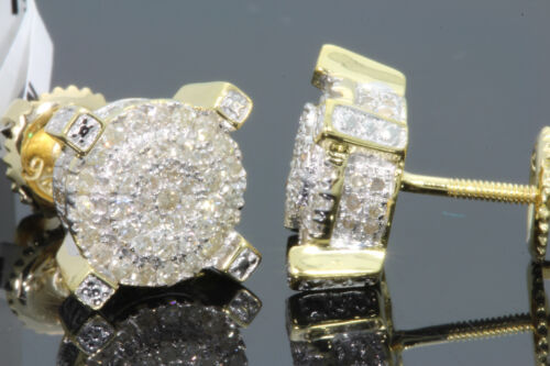 .51 CARAT YELLOW GOLD FINISH MENS WOMENS 9 mm 100% REAL DIAMONDS EARRINGS STUDS