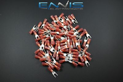 18-22 Gauge Nylon Spade 6 Connector 50 Pk Red Crimp Terminal Awg Car Suv Audio