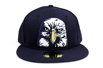 American Bald Eagle Navy Blue White Metallic Gold New Era 59Fifty Fitted Hat Cap - White Bald Cap