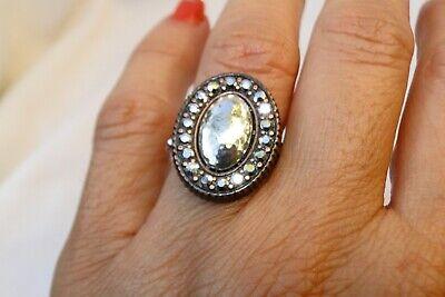 NWT Authentic Brighton Melange silver, Black & Crystal Stone Ring Size 9 $56