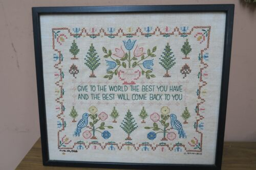 "Vintage 1966 Completed Linen Sampler Embroidered 12"" x 14"" - 13""x15"" Framed"